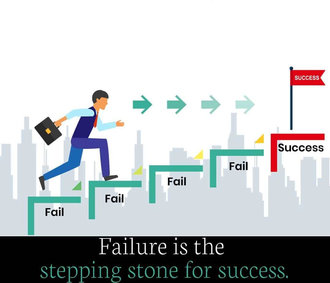 failure is stepping stone for success